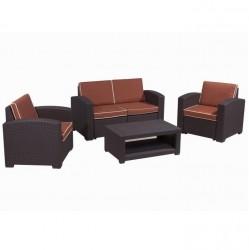 Комплект RATTAN Premium 4   (2 кресла +2х местный диван + 1 столик). Цвет венге. Подушки оранжевые.