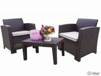 Комплект RATTAN Comfort 3 (2 кресла + 1 столик). Цвет венге. Подушки бежевые.