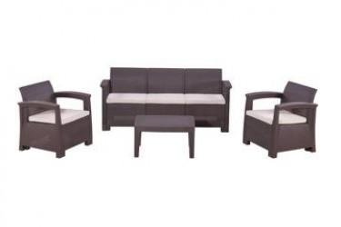 КомплектRATTAN Comfort 5 (2019г)   (2 кресла +3х местный диван + 1 столик). Цвет венге. Подушки бежевые.