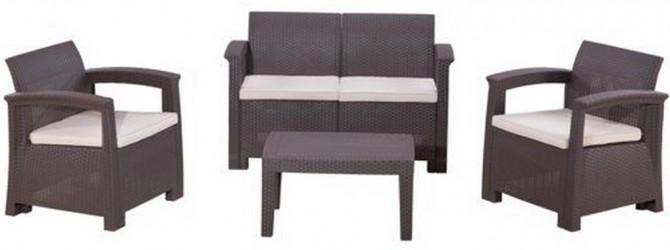 Комплект RATTAN Comfort 4 (2019г)   (2 кресла +2х местный диван + 1 столик). Цвет венге. Подушки бежевые.