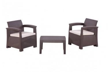 Комплект RATTAN Comfort 3 (2019г)   (2 кресла + 1 столик). Цвет венге. Подушки бежевые.
