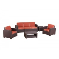 Комплект RATTAN Premium 5   (2 кресла +3х местный диван + 2 столика). Цвет венге. Подушки оранжевые.